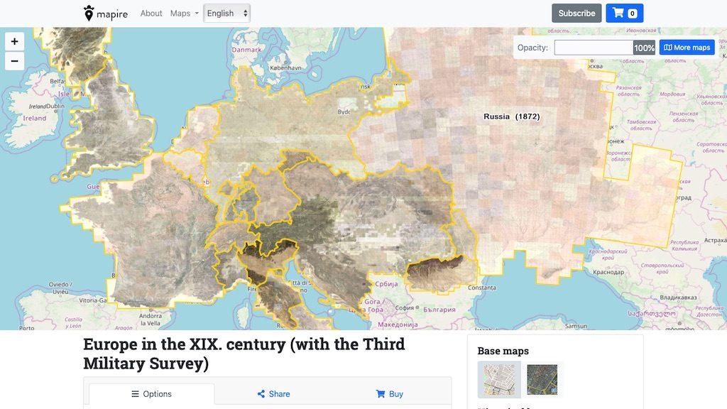Zbiór XIX-wiecznych starych map Europy – Źródło: mapire.eu