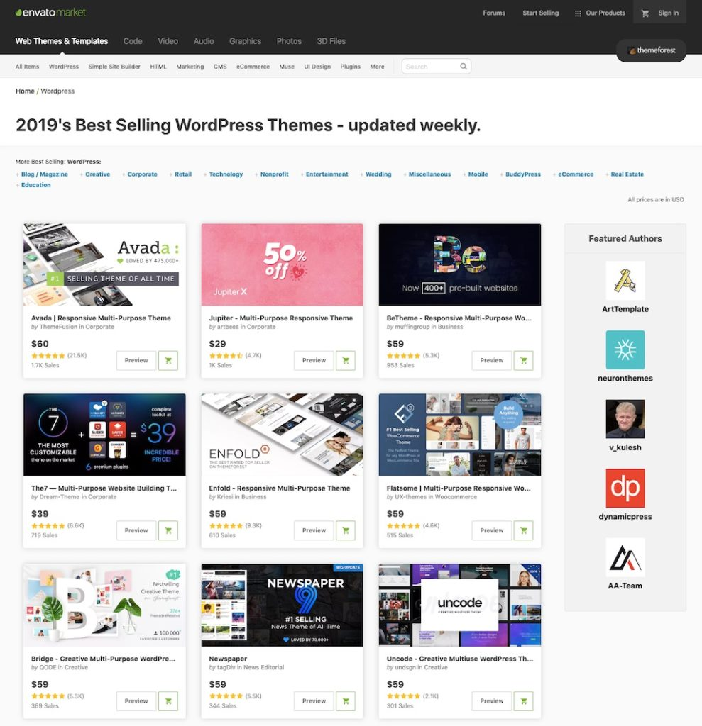 ThemeForest.net – Sklep z motywami do WordPressa