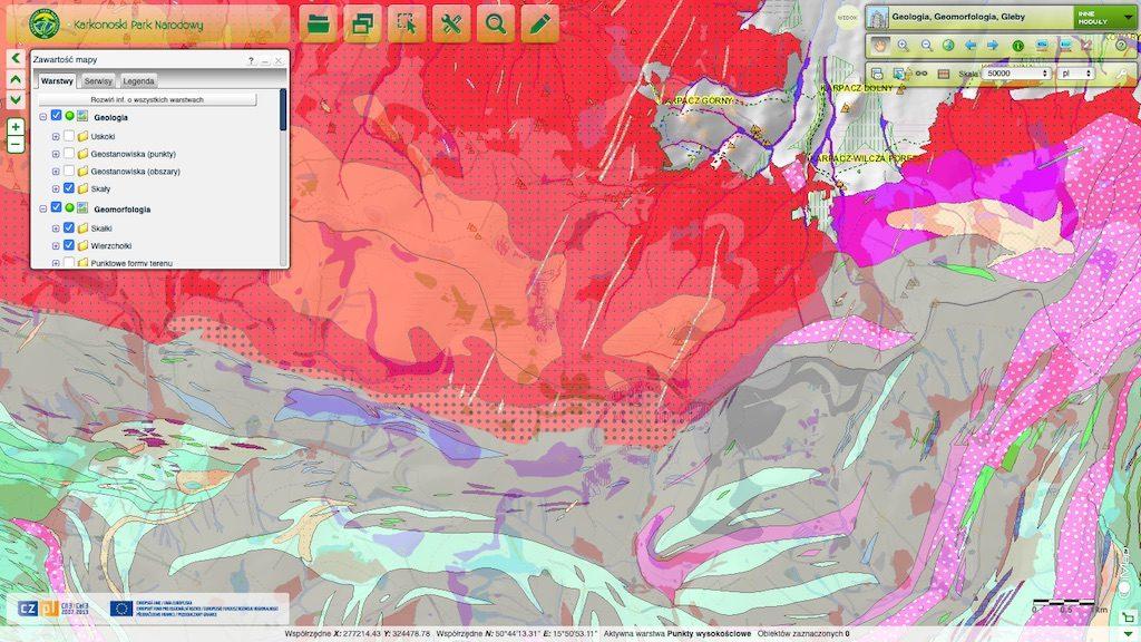 Warstwa geologiczna mapy Karkonoskiego Parku Narodowego – Źródło: geoportal.kpnmab.pl