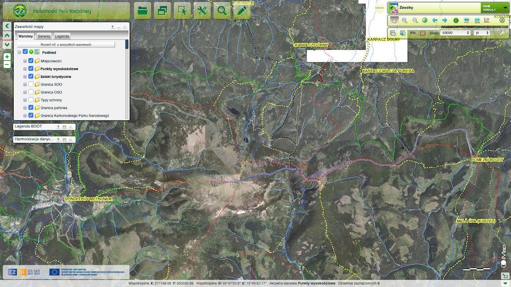 Interaktywna mapa Karkonoszy – Źródło: geoportal.kpnmab.pl