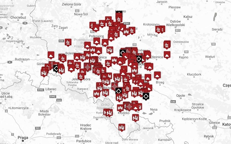 Mapa skatalogowanych grodów i zamków (stan na 25.04.2019 r.) – Źródło: www.odgrodudozamku.pl