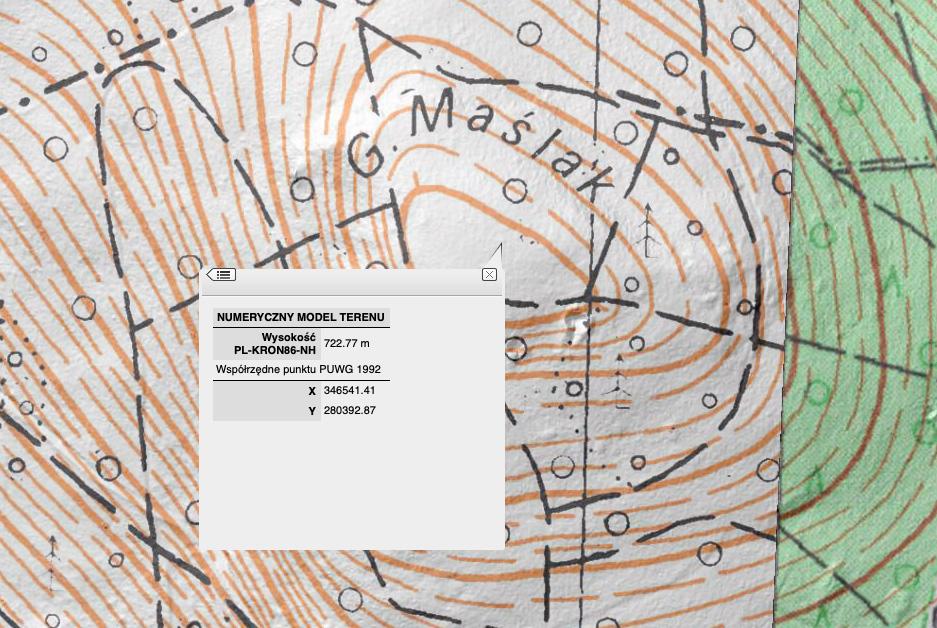 Folwarczna (Maślak) według NMT jest najwyższym szczytem Gór Kaczawskich – Źródło: geoportal.gov.pl