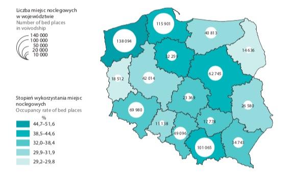 Turystyka w Polsce – Miejsca noclegowe w turystycznych obiektach noclegowych w 2018 roku – Źródło: GUS