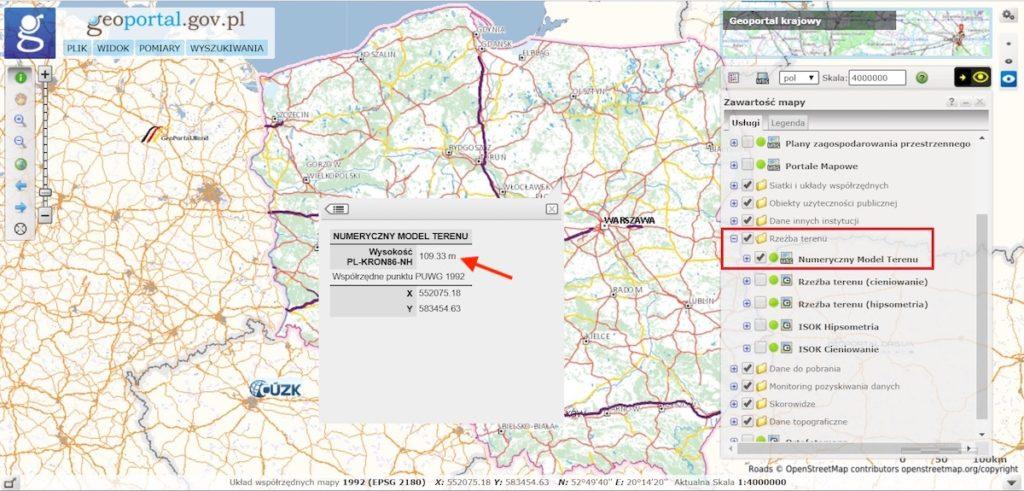 Sprawdzanie wysokości terenu w serwisie Geoportal.gov.pl – Źródło: geoportal.gov.pl