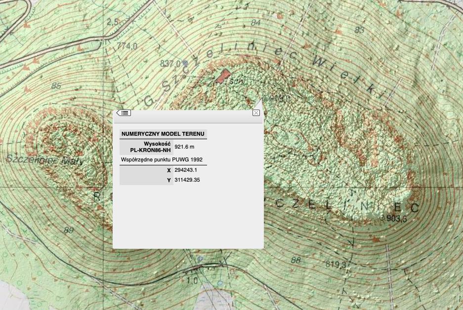 Szczeliniec Wielki według NMT jest najwyższym szczytem Gór Stołowych – Źródło: geoportal.gov.pl