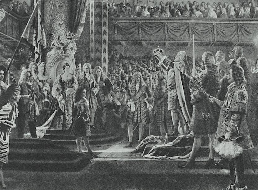 Koronacja Fryderyka I na króla w Prusach w zamku w Królewcu, 1701 rok – Autor: Anton von Werner
