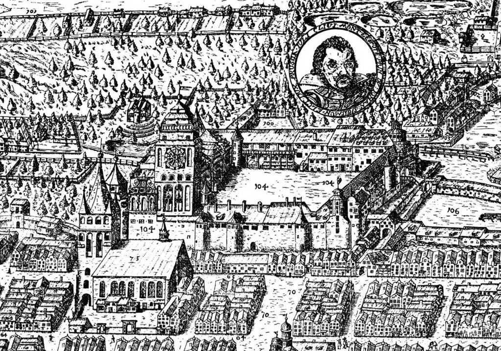 Zamek na panoramie Królewca z 1613 roku