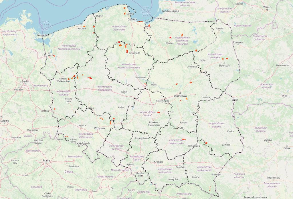 Na pomarańczowo zaznaczone są pilotażowe obszary przeznaczone do biwakowania, bushcraftu i survivalu [stan na 01.12.2019 r.] – Źródło: Bank Danych o Lasach