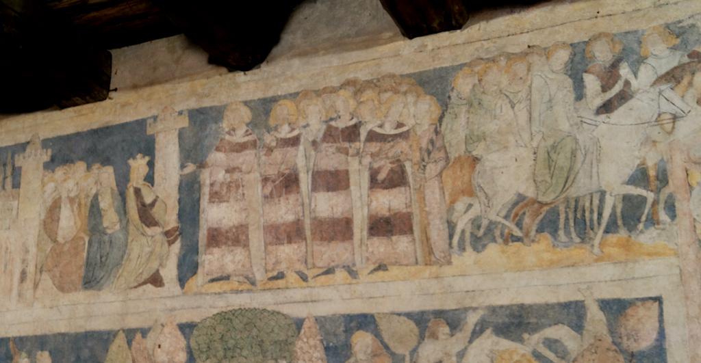 Ginewra i Lancelot w otoczeniu dam i rycerzy, ok. 1320–1330 roku – Wieża mieszkalna w Siedlęcinie koło Jeleniej Góry