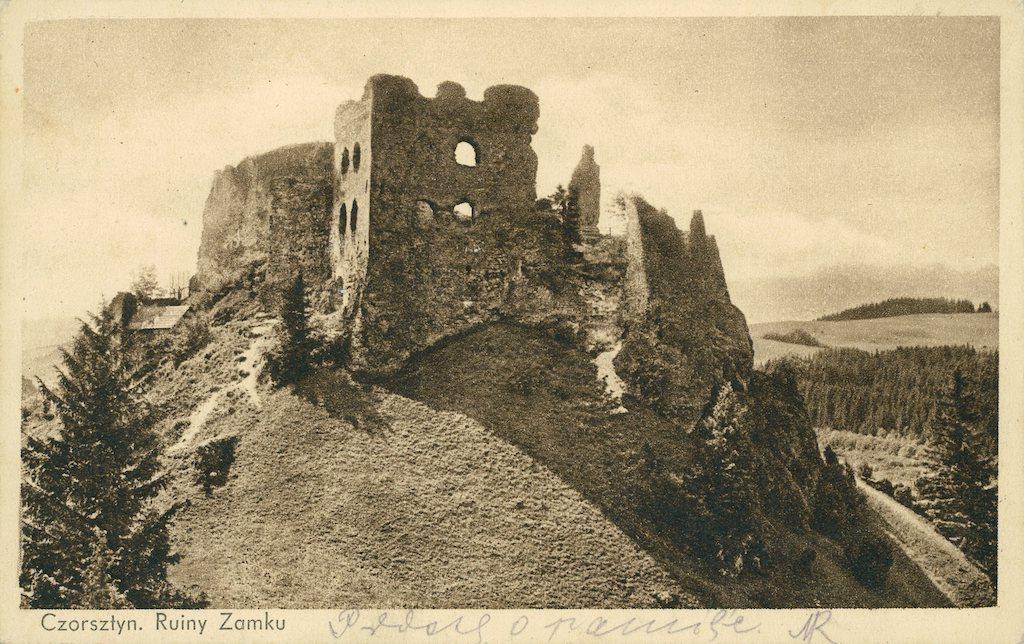Zamek w Czorsztynie na pocztówce z 1935 roku – Źródło: polona.pl
