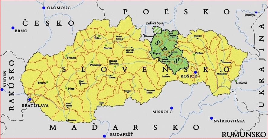Mapa Spisza na tle współczesnych granic, na zielono zaznaczono obszar całego regionu, obszar w zielono-szare paski znajduje się na terenie Polski (tzw. polski Spisz) – Autor: Kristo Źródło: wikimedia.org
