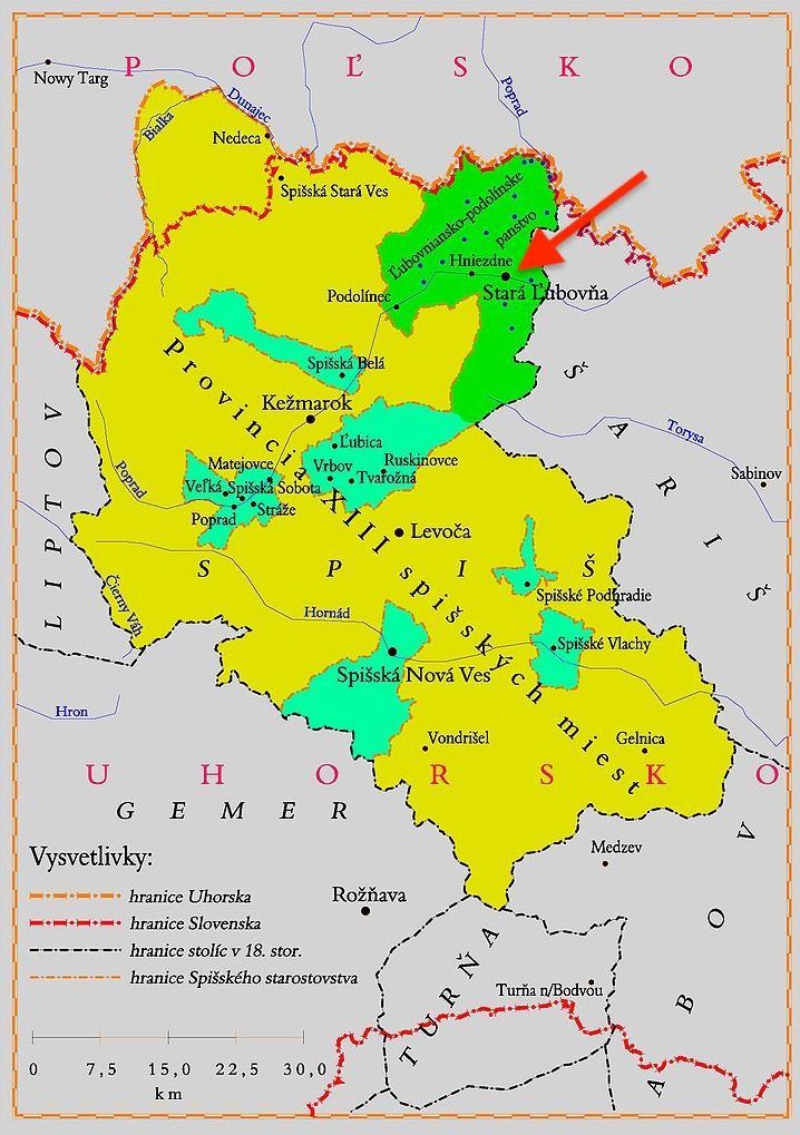 Mapa Spisza, na niebiesko i zielono zaznaczono obszary należące do zastawu spiskiego, a strzałką miejscowość Lubowla (Stará Ľubovňa) – Autor: Kristo Źródło: wikimedia.org