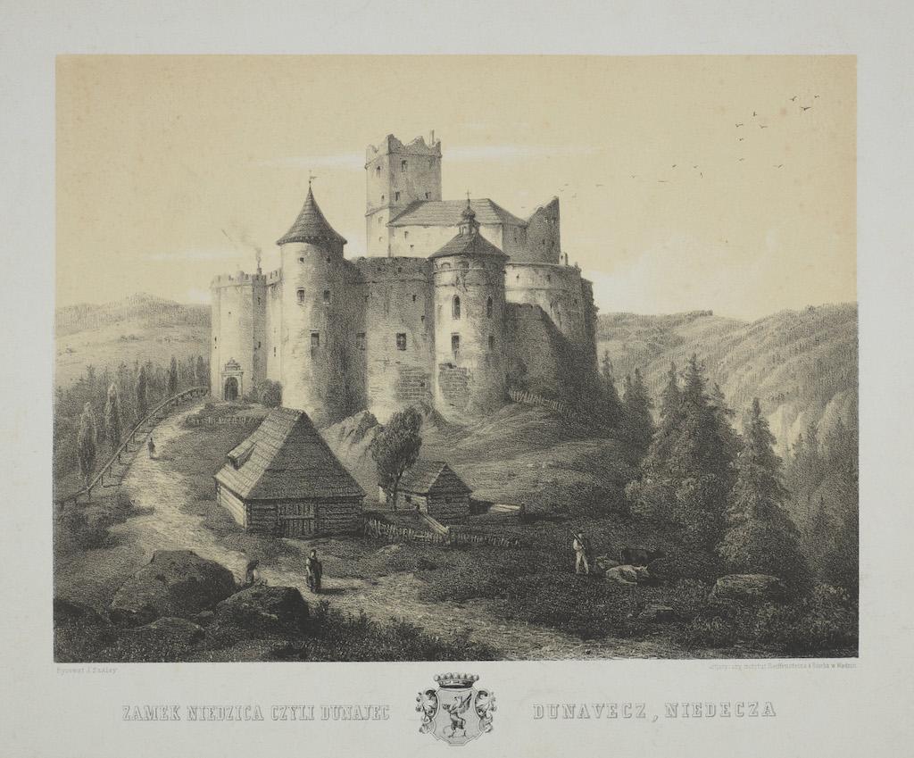 Zamek Dunajec w Niedzicy na grafice z XIX wieku – Źródło: polona.pl
