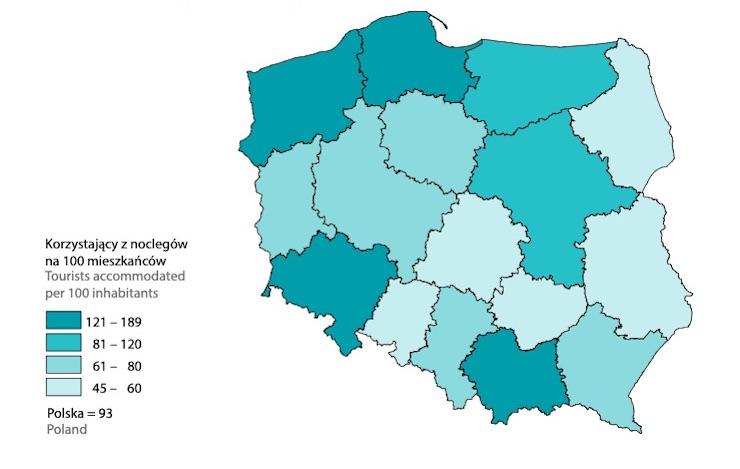 Wskaźnik intensywności ruchu turystycznego według Schneidera w 2019 roku – Źródło: GUS