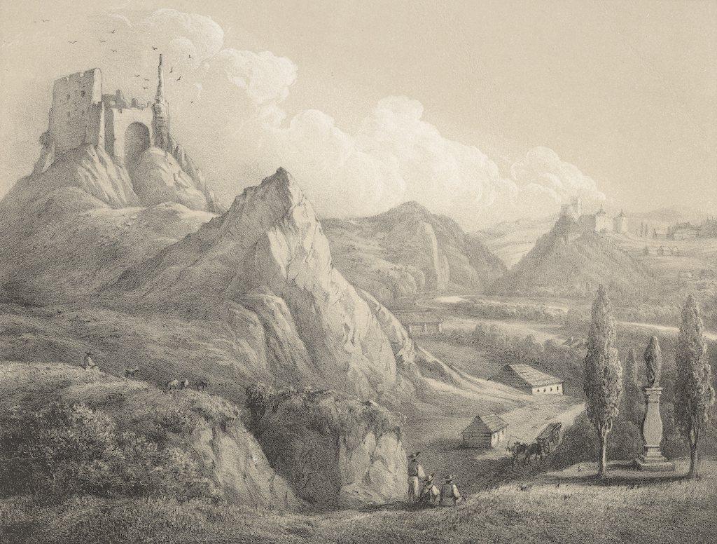 Niedzica i Czorsztyn na grafice z XIX wieku – Źródło: polona.pl