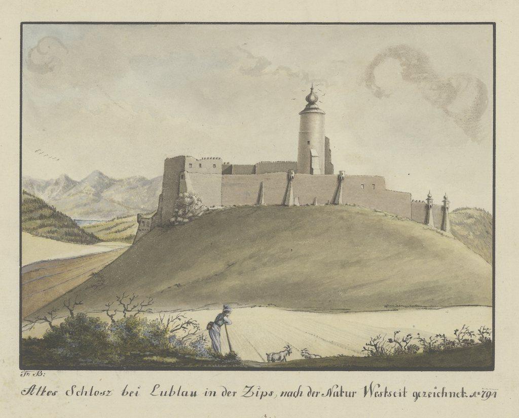 Zamek Lubowla na grafice z końca XVIII wieku – Źródło: polona.pl