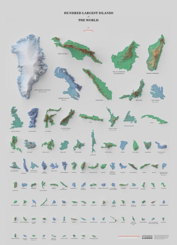 Porównanie wielkości 100 największych wysp świata – Autor: David Garcia