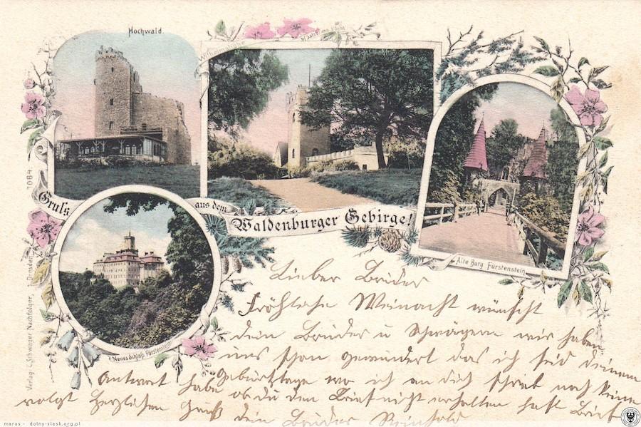 Wizerunek Belwederu był stałym elementem pocztówek z Gór Wałbrzyskich – Źródło: polska-org.pl