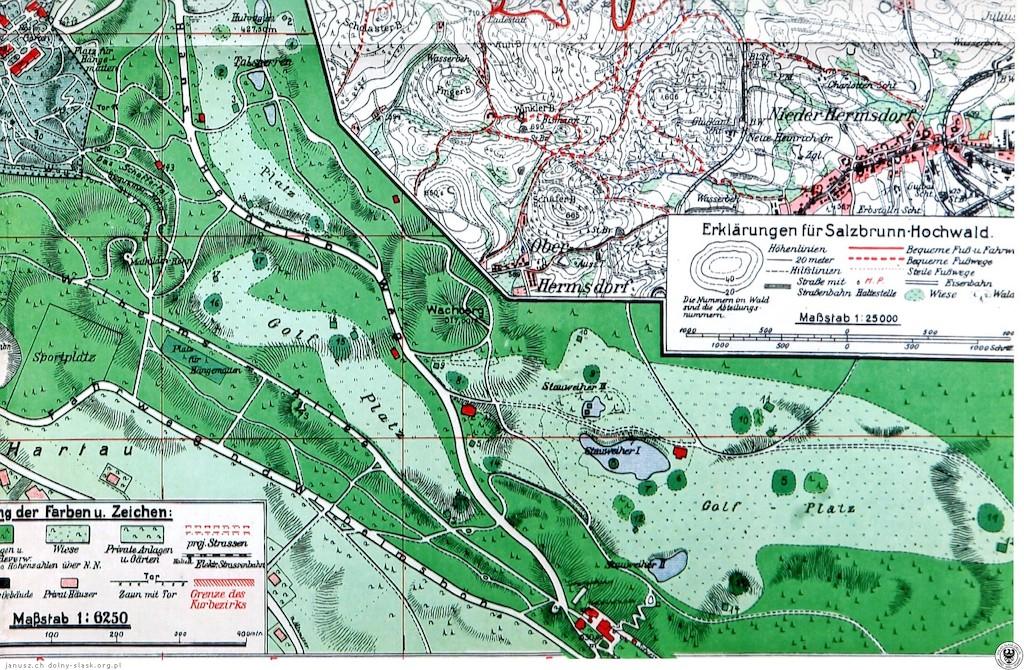 Plan pola golfowego – w południowej części zaznaczono zabudowania Belwederu – Źródło: polska-org.pl