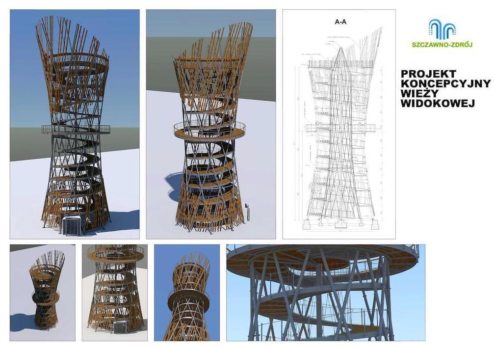Wizualizacja nowej wieży widokowej na Wzgórzu Gedymina – Źródło: Gmina Szczawno-Zdrój