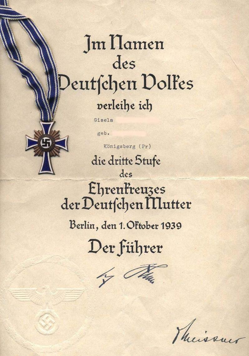 Brązowy Krzyż Matki wraz z dyplomem od samego Führera