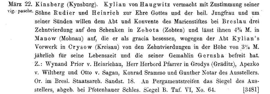 Fragment regestów dokumentów śląskich [3481] wzmiankujący po raz pierwszy o Zamku Grodno (Kinsberg) w 1315 roku – Żródło: Codex Diplomaticus Silesiae
