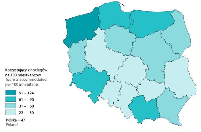 Turystyka w Polsce w 2020 roku, wskaźnik intensywności ruchu turystycznego według Schneidera – Źródło: GUS